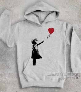 balloon girl felpa bambino banksy raffigurante una bimba con un palloncino a forma di cuore