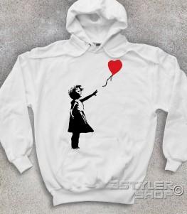 balloon girl felpa unisex banksy raffigurante una bimba con un palloncino a forma di cuore