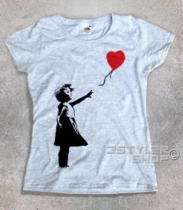 balloon girl t-shirt donna banksy raffigurante una bimba con un palloncino a forma di cuore