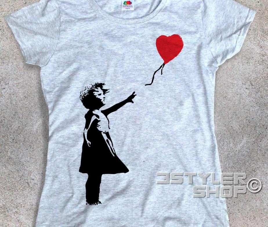 balloon girl t shirt donna banksy. Black Bedroom Furniture Sets. Home Design Ideas