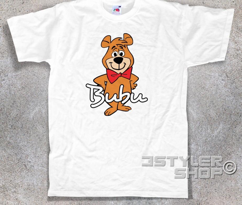 T shirt maglietta ragazza donna orso yoghi e bubu pelusciamo