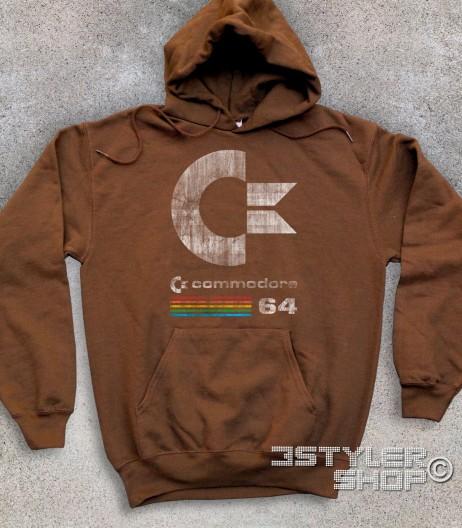 commodore 64 felpa unisex con logo antichizzato