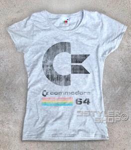 commodore 64 t-shirt donna con logo antichizzato