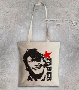 de andrè borsa shopper con l'immagine stilizzata di de andrè e scritta faber