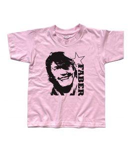 de andrè t-shirt bambino con l'immagine stilizzata di de andrè e scritta faber