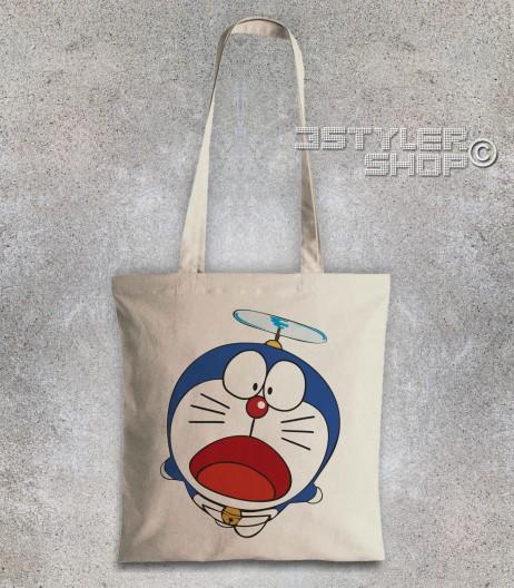 doraemon borsa shopper raffigurante il gatto spaziale blu con l'elica