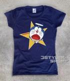 doraemon t-shirt donna raffigurante il gatto spaziale blu con l'elica
