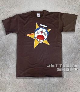 doraemon t-shirt uomo raffigurante il gatto spaziale blu con l'elica