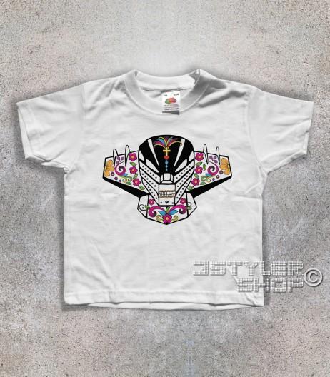 jeeg t-shirt bambino raffigurante la testa di jeeg in versione teschio messicano