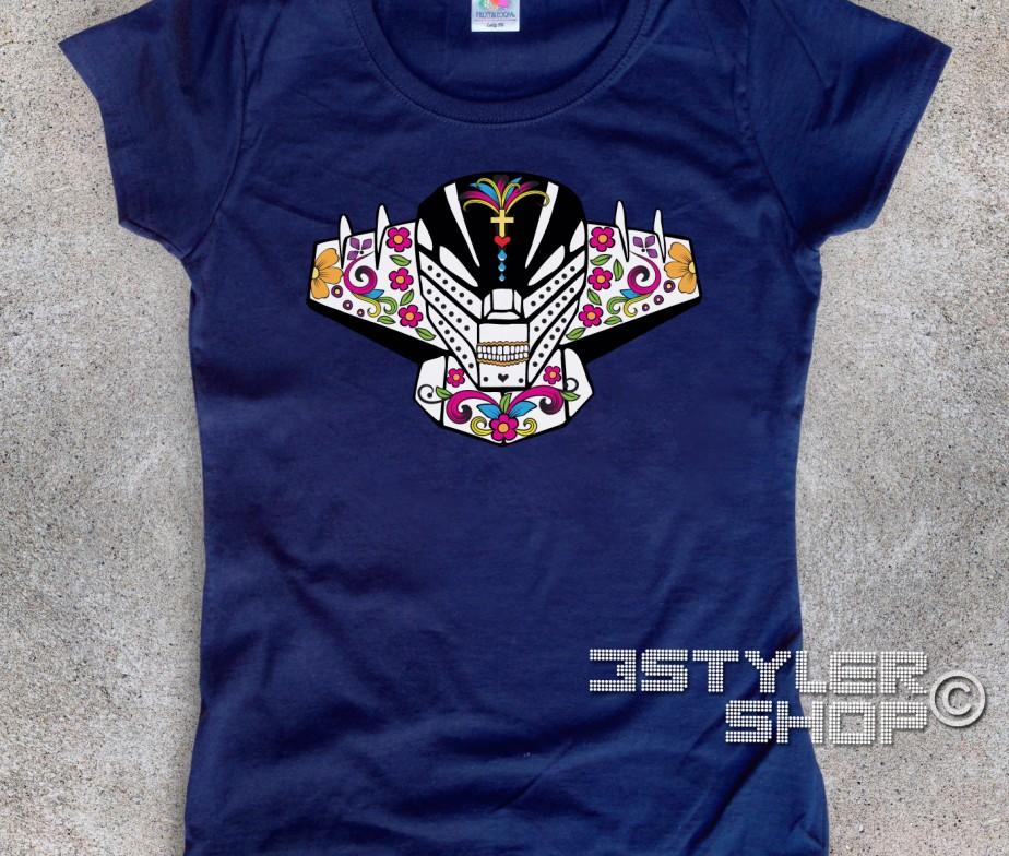Jeeg t shirt donna teschio messicano