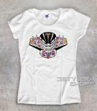 jeeg t-shirt donna raffigurante la testa di jeeg in versione teschio messicano