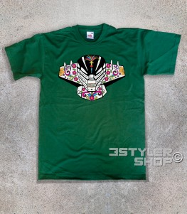 jeeg t-shirt raffigurante la testa di jeeg in versione teschio messicano