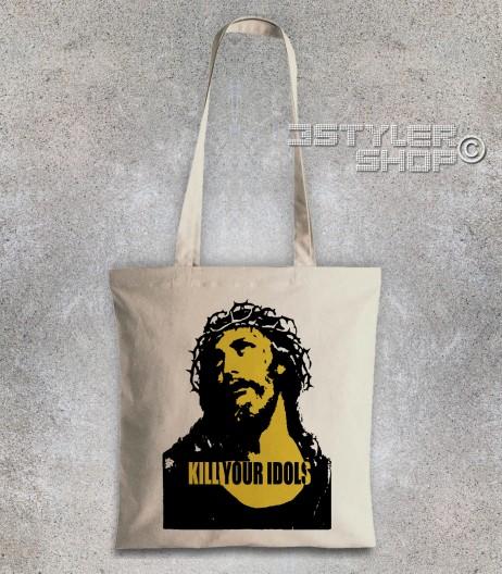 kill your idols borsa - shopper natural stampa immagine Gesù e scritta kill your idols