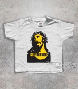 kill your idols T-shirt bambino Bianca stampa immagine Gesù e scritta kill your idols