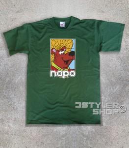 napo orso capo t-shirt uomo raffigurante l'orso napo con i suoi capelloni e scritta
