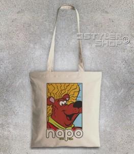 napo orso capo borsa shopper raffigurante l'orso napo con i suoi capelloni e scritta