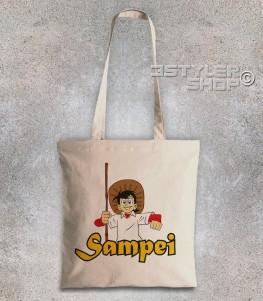 Sampei borsa shopper raffigurante bil pescatore con il suo cappello e la canna da pesca