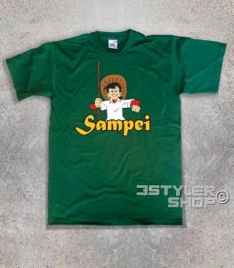 Sampei t-shirt uomo raffigurante bil pescatore con il suo cappello e la canna da pesca