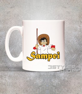 Sampei tazza mug raffigurante bil pescatore con il suo cappello e la canna da pesca