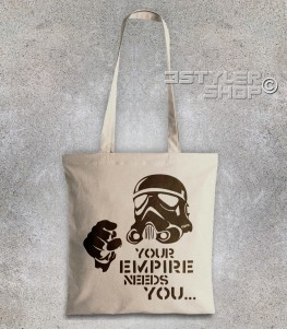 star wars borsa - shopper raffigurante uno stormtrooper stilizzato e scritta your empire needs you