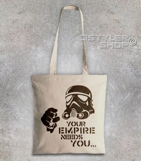 star wars borsa - shopper raffigurante uno stormtrooper stilizzato e scritta your empire needs you