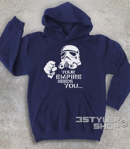 star wars felpa bambino raffigurante uno stormtrooper stilizzato e scritta your empire needs you