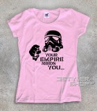 star wars t-shirt donna raffigurante uno stormtrooper stilizzato e scritta your empire needs you