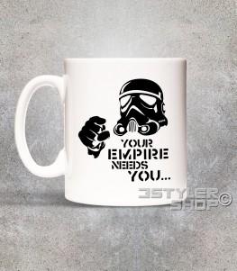 star wars tazza - mug raffigurante uno stormtrooper stilizzato e scritta your empire needs you
