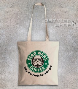 starbucks borsa shopper raffigurante il celebre logo reinterpretato in chiave star wars
