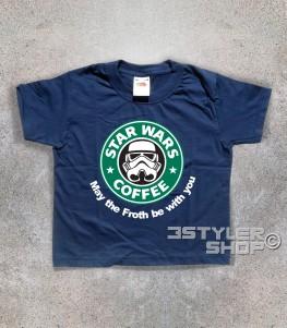 starbucks t-shirt bambino raffigurante il celebre logo reinterpretato in chiave star wars