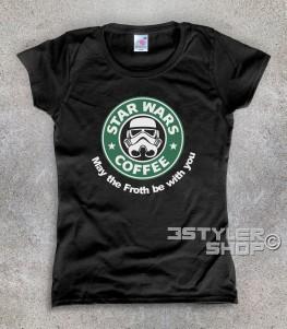 starbucks t-shirt donna raffigurante il celebre logo reinterpretato in chiave star wars