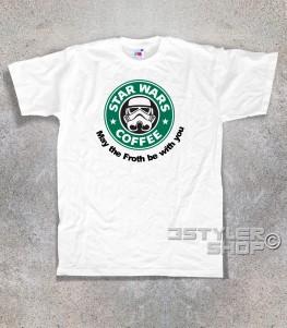 starbucks t-shirt uomo raffigurante il celebre logo reinterpretato in chiave star wars