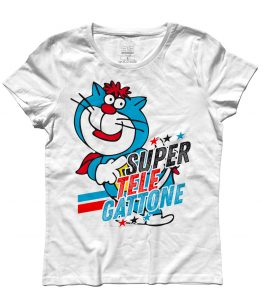supertelegattone t-shirt donna con Oscar il gatto di super classifica show