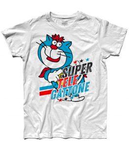 supertelegattone t-shirt uomo con Oscar il gatto di super classifica show