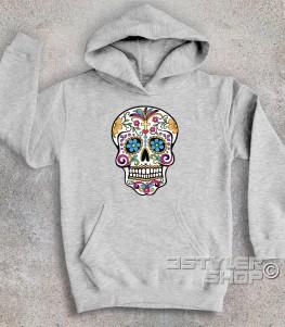 teschio messicano felpa bambino raffigurante un classico teschio messicano