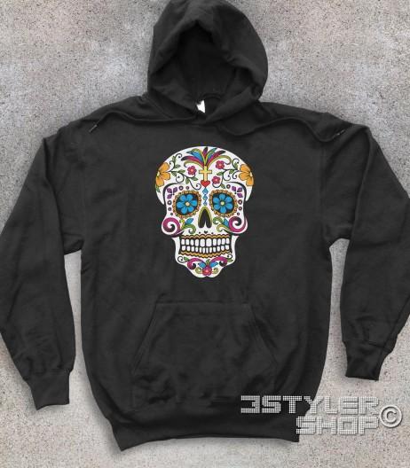 teschio messicano felpa unisex raffigurante un classico teschio messicano