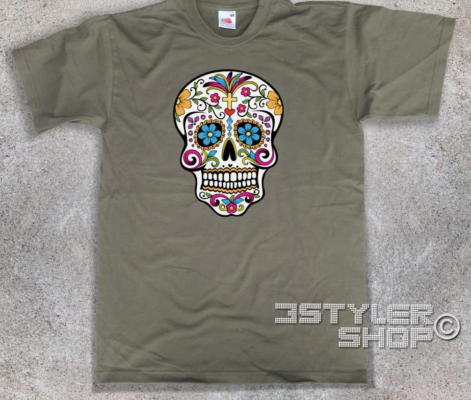 Shirt Messicano Mexican T Uomo Teschio Skull HWED2IY9
