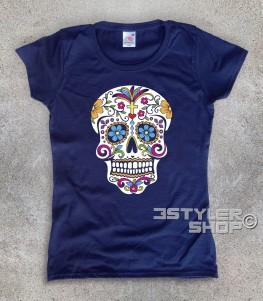 teschio messicano t-shirt donna raffigurante un classico teschio messicano