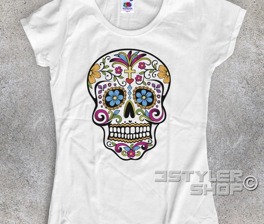 T Donna Mexican Skull Messicano Teschio Shirt FJlK1c