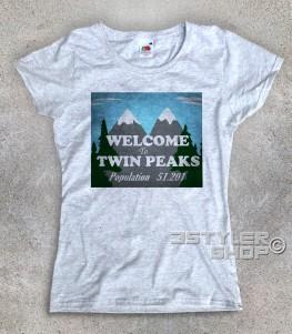 Welcome to Twin Peaks t-shirt donna raffigurante il cartello di benvenuto della cittadina