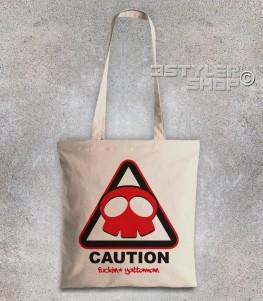 yattaman borsa shopper raffigurante il logo a forma di teschio del trio drombo