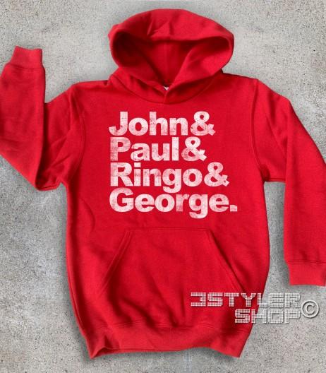 beatles felpa bambino coi loro nomi: John, Paul, Ringo e George