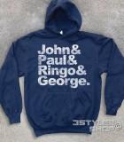 beatles felpa coi loro nomi: John, Paul, Ringo e George