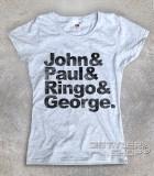 beatles t-shirt donna coi loro nomi: John, Paul, Ringo e George