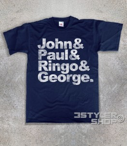 beatles t-shirt uomo coi loro nomi: John, Paul, Ringo e George