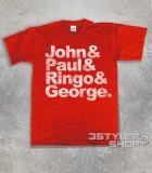 beatles t-shirt uomo coi loro nomi: John, Paul, Ringo e George