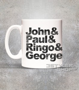 beatles tazza mug coi loro nomi: John, Paul, Ringo e George