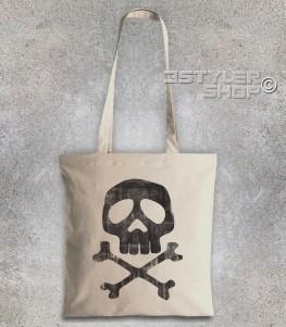 Capitan Harlock borsa shopper raffigurante il teschio del suo costume antichizzato