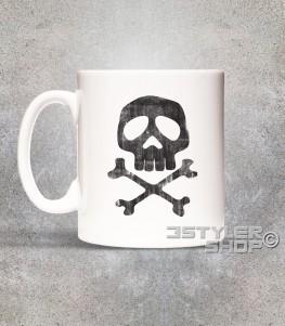 Capitan Harlock tazza mug raffigurante il teschio del suo costume antichizzato
