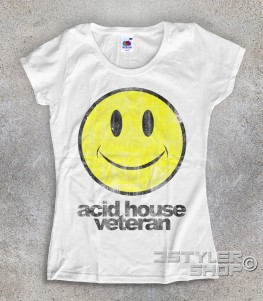 acid house veteran t-shirt donna con smile stilizzato